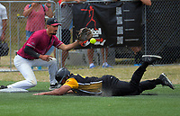 Wayne Laulu (Wellington) makes it to third base in the first innings. Wellington v North Harbour men's final. 2020 National Fastpitch Softball Championships at Fraser Park in Lower Hutt, New Zealand on Sunday, 16 February 2020. Photo: Dave Lintott / lintottphoto.co.nz