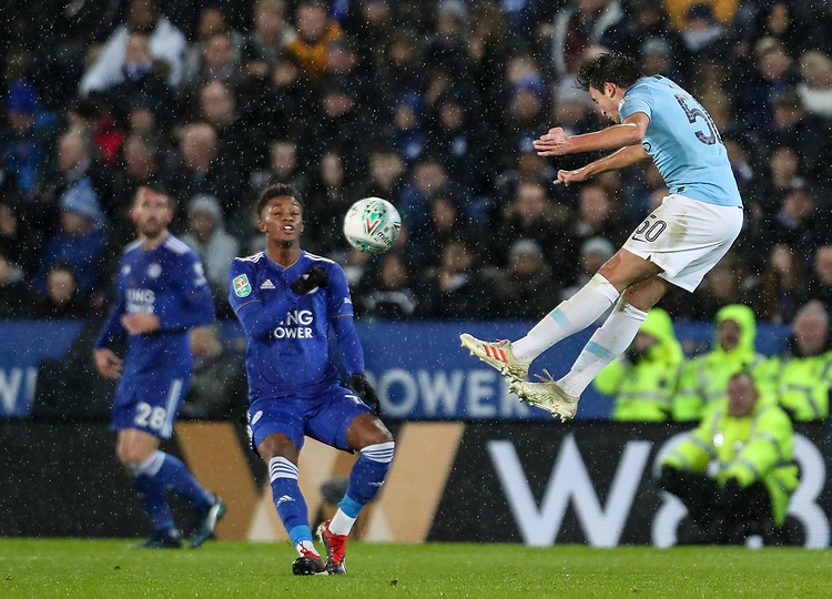 Manchester City's Eric Garcia competing with Leicester City's Demarai Gray<br /> <br /> Photographer Andrew Kearns/CameraSport<br /> <br /> English League Cup - Carabao Cup Quarter Final - Leicester City v Manchester City - Tuesday 18th December 2018 - King Power Stadium - Leicester<br />  <br /> World Copyright © 2018 CameraSport. All rights reserved. 43 Linden Ave. Countesthorpe. Leicester. England. LE8 5PG - Tel: +44 (0) 116 277 4147 - admin@camerasport.com - www.camerasport.com