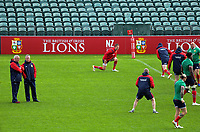 Lions head coach Warren Gatland (left) and assistant coach Rob Howley watch the team warm up during the 2017 DHL Lions Series rugby union British & Irish Lions captain's run at QBE Stadium in Albany New Zealand on Tuesday, 6 June 2017. Photo: Dave Lintott / lintottphoto.co.nz