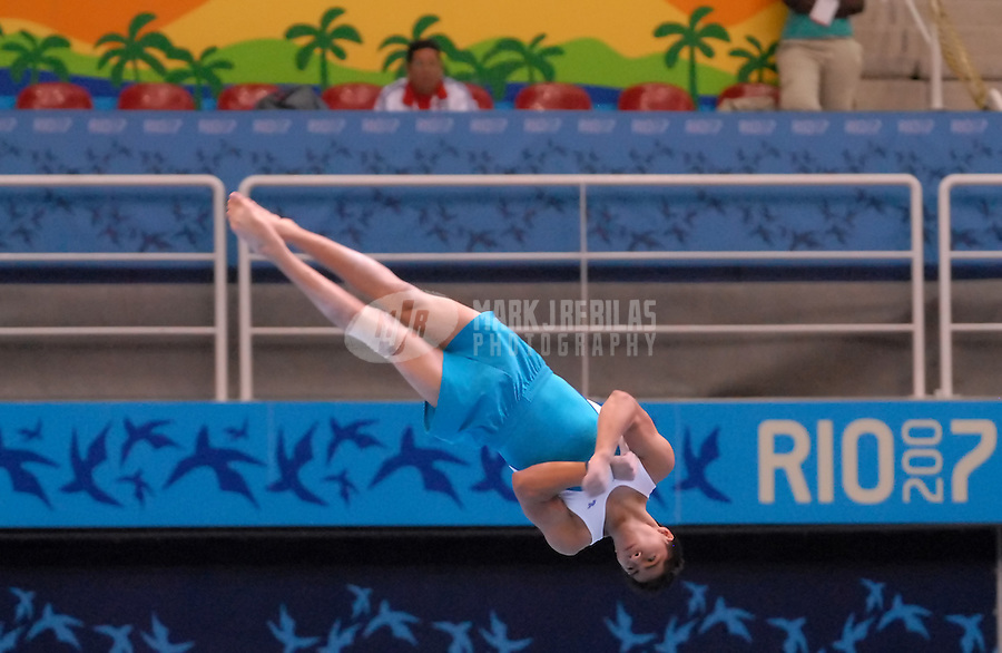 Jul 14, 2007; Rio de Janeiro, Brazil; Antonio Juarez Mynor (GUA) performs on the floor exercise routine during mens team qualification in the Pan American Games at Multiuse Arena in Rio de Janeiro. Mandatory Credit: Mark J. Rebilas-US PRESSWIRE Copyright © 2007 Mark J. Rebilas