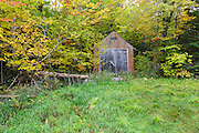 Old shed at the Fabyan Guard Station along the old Jefferson Turnpike (now Old Cherry Mountain Road) in Carroll, New Hampshire during the autumn months. The Fabyan Guard Station is the last remaining guard station in the White Mountain National Forest.