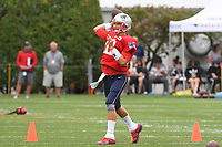 August 1, 2018: New England Patriots quarterback Tom Brady (12) throws a pass at the New England Patriots training camp held on the practice fields at Gillette Stadium, in Foxborough, Massachusetts. Eric Canha/CSM