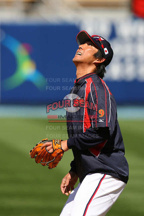 Michihiro Ogasawara of Japan during a game against the United States at the World Baseball Classic at Dodger Stadium on March 22, 2009 in Los Angeles, California. (Larry Goren/Four Seam Images)