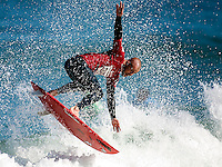 Dave Neilson from Umina, New South Wales flies across the top of the wave during the opening heats of the Quksilver Airshow Cottesloe Beach, Perth, Western Australia, Saturday August 18 2001..A round of  The Quiksilver Airshow International Series, with $20,000 in prize-money was run today at Cottesloe Beach. The Quiksilver Airshow is the richest and most spectacular surfing event to be staged at a Perth Beach. The contest is based around the futuristic moves of aerial surfing, where each surfer  is judged on their best two aerial manoeuvres in each heat. (Photo: joliphotos.com)