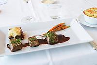 The main dish with lasagne of vegetables filet of deer spring carrots and a potato gratin dauphinois to the side Ulriksdal Ulriksdals Wärdshus Värdshus Wardshus Vardshus Restaurant, Stockholm, Sweden, Sverige, Europe