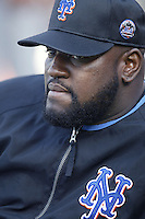 Mo Vaughn of the New York Mets before a 2002 MLB season game against the Los Angeles Dodgers at Dodger Stadium, in Los Angeles, California. (Larry Goren/Four Seam Images)