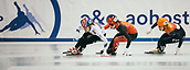 2nd February 2019, Dresden, Saxony, Germany; World Short Track Speed Skating; final, 1500 meters for  women in the EnergieVerbund Arena : winner Ji Yoo Kim from South Korea (l) in action next to Kim Boutin from Canada (M) and Suzanne Schulting from the Netherlands.