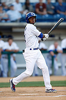 Casio Grider #11 of the Rancho Cucamonga Quakes bats against the Lake Elsinore Storm at LoanMart Field on August 6, 2013 in Rancho Cucamonga, California. Lake Elsinore defeated Rancho Cucamonga, 13-5. (Larry Goren/Four Seam Images)