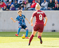 HARRISON, NJ - MARCH 08: Risa Shimizu #2 of Japan passes the ball during a game between England and Japan at Red Bull Arena on March 08, 2020 in Harrison, New Jersey.