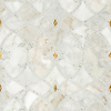 Avila, a natural stone waterjet and hand-cut mosaic shown in Gold glass honed, Afyon White polished, and Cloud Nine honed, is part of the Miraflores collection by Paul Schatz for New Ravenna.