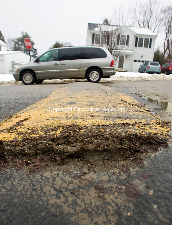 WATERBURY, CT - 24 FEBRUARY 2010 -022310JT02--<br /> Transportation officials are looking for ways to slow down traffic, including installing speed bumps such as this one on Kenmore Avenue off of Bunker Hill Avenue.<br /> Josalee Thrift Republican-American