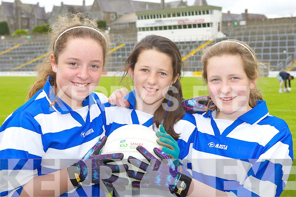 Caragh Lake girls Laura Brennan, Nicole Moriarty and Claire Feeleyon the ball at the Girls Primary schools skills final in Fitzgerald Stadium on Thursday 5th April