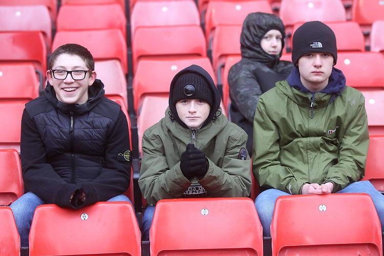 Bolton Wanderers Fans awaiting the kick off<br /> <br /> Photographer Mick Walker/CameraSport<br /> <br /> The EFL Sky Bet Championship - Sheffield United v Bolton Wanderers - Saturday 2nd February 2019 - Bramall Lane - Sheffield<br /> <br /> World Copyright © 2019 CameraSport. All rights reserved. 43 Linden Ave. Countesthorpe. Leicester. England. LE8 5PG - Tel: +44 (0) 116 277 4147 - admin@camerasport.com - www.camerasport.com