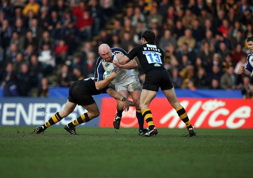 Photo: Rich Eaton...London Wasps v Leinster. Heineken Cup. 31/03/2007. Bernard Jackman of Leinster is tackled