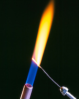SODIUM FLAME TEST<br /> Bright Yellow Flame Shows Presence Of Sodium (Alkali metal). Sodium compound is dissociated by flame into gaseous atoms, not ions. The atoms of the element are raised to excited state by high temperature of flame. Excess energy from the atom is emitted as light of a characteristic wavelength.
