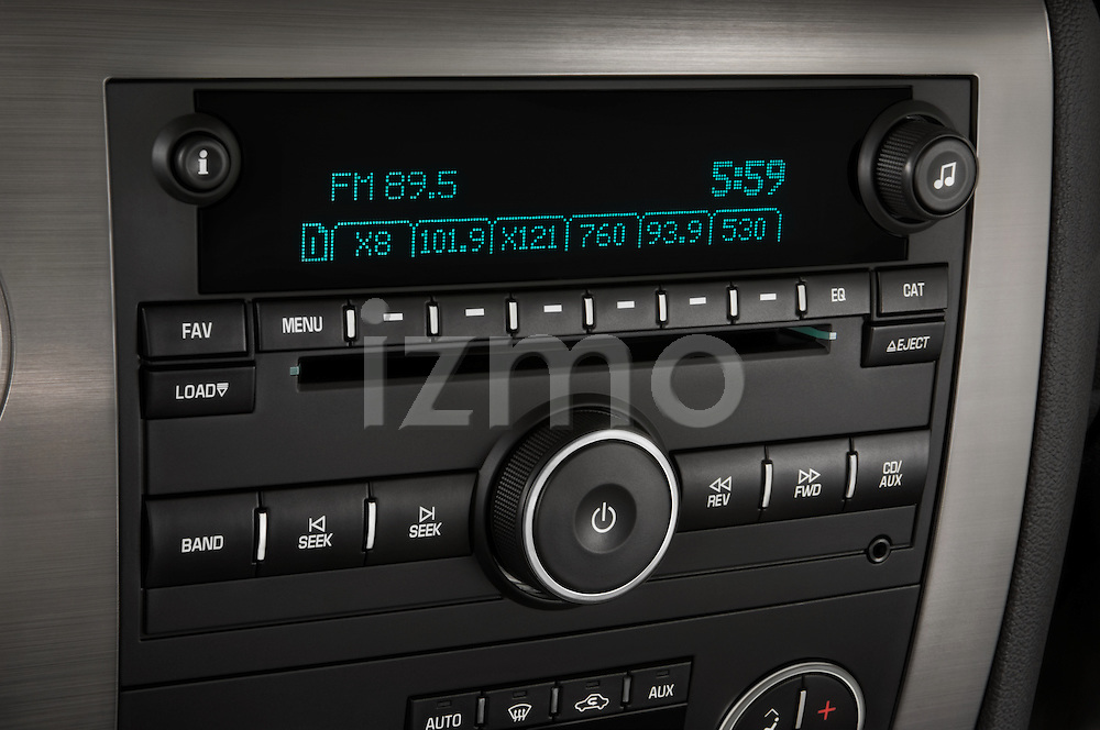 Stereo audio system close up detail view of a 2008 Hummer H2 SUV