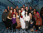 Manoel Felciano with Adam Chanler-Berat, Phillipa Soo and cast during the Actors' Equity Broadway Opening Night Gypsy Robe Ceremony honoring Manoel Felciano for 'Amelie' at the Walter Kerr Theatre on April 3, 2017 in New York City