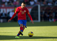 CARSON, CA - FEBRUARY 1: David Guzman #20 of Costa Rica passes off a ball during a game between Costa Rica and USMNT at Dignity Health Sports Park on February 1, 2020 in Carson, California.