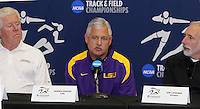 Coach Lance Harter, Univ. of Arkansas(Women), Coach Dennis Shaver LSU and Coach Vin Lananna at the 2011 NCAA Indoor Track & Field Championships Press Conference on Thursday, March 10, 2011. Photo by Errol Anderson.