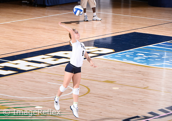 Florida International University women's volleyball libero/defensive specialist Maria McLamb (8) plays against  the University of Central Florida which won the match 3-0 on September 17, 2015 at Miami, Florida.