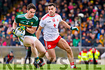 Brian Ó Beaglaíoch  Kerry in action against Darren McCurry Tyrone during the Allianz Football League Division 1 Round 1 match between Kerry and Tyrone at Fitzgerald Stadium, Killarney on Sunday.
