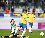 Nederland, Waalwijk, 21 oktober 2012.Eredivisie.Seizoen 2012-2013.RKC-PEC Zwolle.Teddy Chevalier (r.) van RKC Waalwijk en Joost Broerse (l.) van PEC Zwolle strijden om de bal.