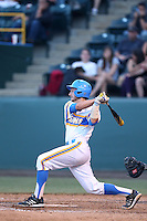 Shane Zeile #9 of the UCLA Bruins bats against the Stanford Cardinal at Jackie Robinson Stadium on May 2, 2014 in Los Angeles, California. UCLA defeated Stanford, 7-2. (Larry Goren/Four Seam Images)