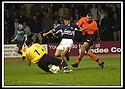 23/11/2002                   Copyright Pic : James Stewart.File Name : stewart-dundee v utd22.PAUL GALLAGHER SAVES AT THE FEET OF NACHO NOVO....Payments to :-.James Stewart Photo Agency, 19 Carronlea Drive, Falkirk. FK2 8DN      Vat Reg No. 607 6932 25.Office     : +44 (0)1324 570906     .Mobile  : +44 (0)7721 416997.Fax         :  +44 (0)1324 570906.E-mail  :  jim@jspa.co.uk.If you require further information then contact Jim Stewart on any of the numbers above.........