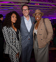 LOS ANGELES, CA - FEBRUARY 6:  CEO, FOX Entertainment Charlie Collier (C) and 9-1-1 cast members Angela Bassett (L) and Aisha Hinds attends the FOX Winter TCA 2019 All Star Party at The Fig House on February 6, 2019 in Los Angeles, California. (Photo by Frank Micelotta/Fox/PictureGroup)