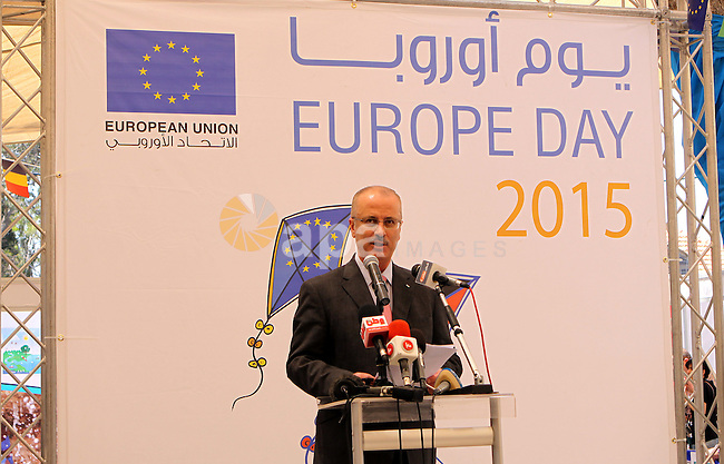 "Palestinian Prime Minister, Rami Hamdallah, participates in a celebration to mark ""Europe Day"" in the West Bank city of Ramallah on May 7, 2015. Europe Day, also known as Schuman Day, is an annual celebration of peace and unity in Europe and commemorating the historical declaration by French foreign minister Robert Schuman. Photo by Prime Minister Offic"