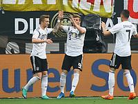 celebrate the goal, Torjubel zum 1:0 von Timo Werner (Deutschland Germany) mit Marco Reus (Deutschland, Germany) und Julian Draxler (Deutschland, Germany) - 08.06.2018: Deutschland vs. Saudi-Arabien, Freundschaftsspiel, BayArena Leverkusen