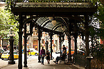 Downtown Seattle at Historical Pioneer Square with pergola and people