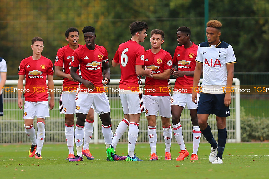 Joe Riley of Manchester United (3rd R) scores the first goal for his team and celebrates during Tottenham Hotspur Under-23 vs Manchester United Under-23, Premier League 2 Football at Tottenham Hotspur Training Centre on 28th October 2016