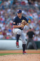 US Collegiate National Team relief pitcher Brendan McKay (38) in action against the Cuban National Team at BB&T BallPark on July 4, 2015 in Charlotte, North Carolina.  The United State Collegiate National Team defeated the Cuban National Team 11-1.  (Brian Westerholt/Four Seam Images)