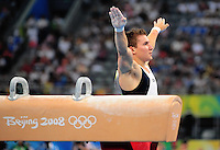 Aug. 9, 2008; Beijing, CHINA; Jonathan Horton (USA) after performing on the pommel horse during mens gymnastics qualification during the Olympics at the National Indoor Stadium. Mandatory Credit: Mark J. Rebilas-