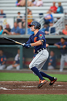 Connecticut Tigers Ryan Kreidler (12) at bat during a NY-Penn League game against the Auburn Doubledays on July 12, 2019 at Falcon Park in Auburn, New York.  Auburn defeated Connecticut 7-5.  (Mike Janes/Four Seam Images)