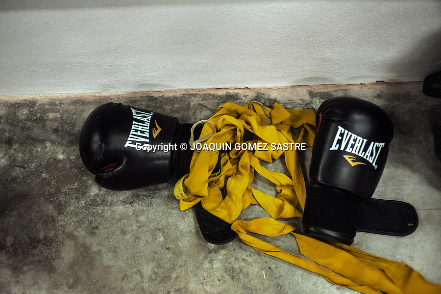 Detail gloves and protections for the hands of the amateur boxer Pilar de la Horadada.