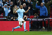 Fernandinho of Manchester City celebrates scoring the opening goal against Liverpool during the Capital One Cup match between Liverpool and Manchester City at Wembley Stadium, London, England on 28 February 2016. Photo by David Horn / PRiME Media Images.