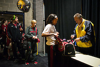 NASHVILLE, TN - The Stanford Cardinal goes through bag check in Nashville, TN for the 2014 NCAA Final Four tournament at the Bridgestone Arena.