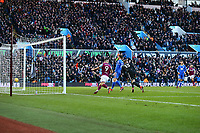 Albert Adomah of Aston Villa scores Aston Villas first goal <br /> <br /> Photographer Leila Coker/CameraSport<br /> <br /> The EFL Sky Bet Championship - Aston Villa v Birmingham City - Sunday 11th February 2018 - Villa Park - Birmingham<br /> <br /> World Copyright &copy; 2018 CameraSport. All rights reserved. 43 Linden Ave. Countesthorpe. Leicester. England. LE8 5PG - Tel: +44 (0) 116 277 4147 - admin@camerasport.com - www.camerasport.com
