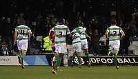 Liam Walsh of Yeovil is mobbed after scoring the opening goal during the Sky Bet League 2 match between Luton Town and Yeovil Town at Kenilworth Road, Luton, England on 2 February 2016. Photo by Liam Smith.