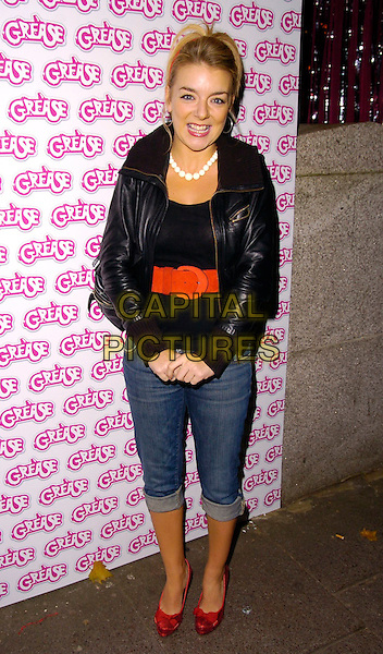 SHERIDAN SMITH.The Grease DVD launch party, All Star Lanes, Bloomsbury Square, London, UK..November 7th, 2006.Ref: CAN.full length black leather jacket jeans denim rolled up cropped red shoes belt.www.capitalpictures.com.sales@capitalpictures.com.©Can Nguyen/Capital Pictures