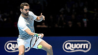 Marin Cilic (CRO) in action against Alexander Zverev (GER)  in their Group Guga Kuerten match<br /> <br /> Photographer Hannah Fountain/CameraSport<br /> <br /> International Tennis - Nitto ATP World Tour Finals Day 2 - O2 Arena - London - Monday 12th November 2018<br /> <br /> World Copyright &copy; 2018 CameraSport. All rights reserved. 43 Linden Ave. Countesthorpe. Leicester. England. LE8 5PG - Tel: +44 (0) 116 277 4147 - admin@camerasport.com - www.camerasport.com