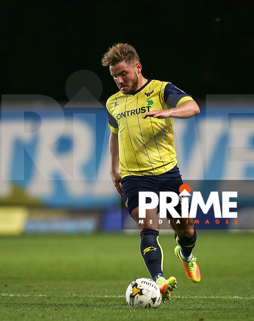 Alex MacDonald of Oxford United in action during the The Checkatrade Trophy match between Oxford United and Exeter City at the Kassam Stadium, Oxford, England on 30 August 2016. Photo by Andy Rowland / PRiME Media Images.