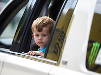 Mar 20, 2016; Gainesville, FL, USA; Jacob Hood , son of former NHRA funny car driver Ashley Force Hood during the Gatornationals at Auto Plus Raceway at Gainesville. Mandatory Credit: Mark J. Rebilas-USA TODAY Sports