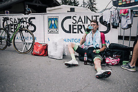 Pierre Rolland (FRA/EF Education-Drapac) needing some recuperation time after finishing<br /> <br /> Stage 7: Moûtiers > Saint-Gervais Mont Blanc (129km)<br /> 70th Critérium du Dauphiné 2018 (2.UWT)