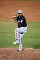 Chattanooga Lookouts relief pitcher Williams Ramirez (40) delivers a pitch during a game against the Mobile BayBears on May 5, 2018 at Hank Aaron Stadium in Mobile, Alabama.  Chattanooga defeated Mobile 11-5.  (Mike Janes/Four Seam Images)