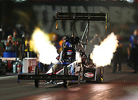 Jun 19, 2015; Bristol, TN, USA; NHRA top fuel driver Cory McClenathan during qualifying for the Thunder Valley Nationals at Bristol Dragway. Mandatory Credit: Mark J. Rebilas-