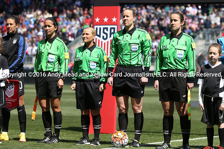10 April 2016: Match officials. From left: Assistant Referee Deleana Quan, Fourth Official Karen Abt, Referee Margaret Domka, and Assistant Referee Amanda Ross. The United States Women's National Team played the Colombia Women's National Team at Talen Energy Stadium in Chester, Pennsylvania in an women's international friendly soccer game. The U.S. won the match 3-0.