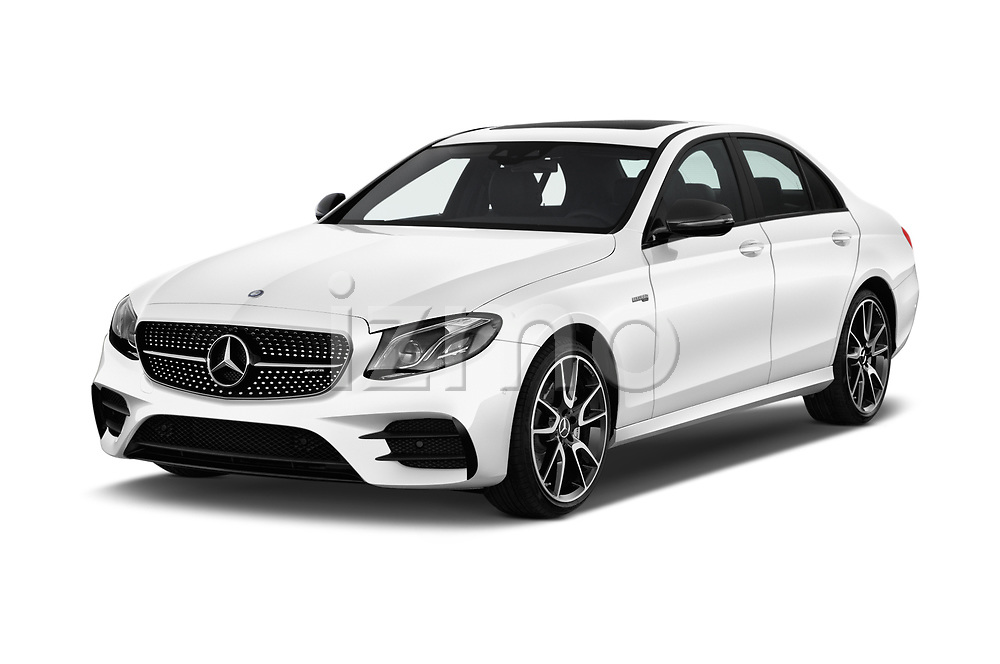 2017 Mercedes Benz E Class AMG 43 4 Door Sedan angular front stock photos of front three quarter view